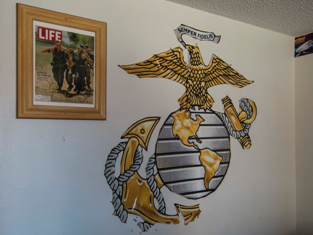 Image of the motto of US Marines Room Semper Fidelis on the wall